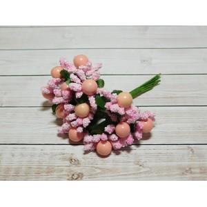 Веточки-тычинки с большой ягодой, 144 шт. (12 букетов) розовый