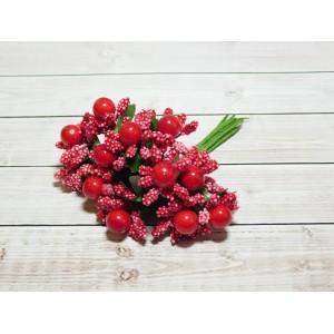 Веточки-тычинки с большой ягодой, 144 шт (12 букетов) красный
