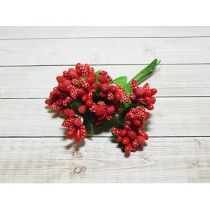 Веточки-тычинки, 144 шт (12 букетов) красный