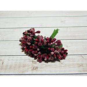 Веточки-тычинки, 144 шт (12 букетов) бордовый