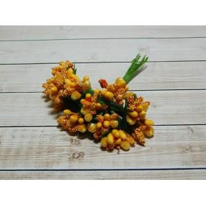 Веточки-тычинки, 144 шт (12 букетов) оранжевый