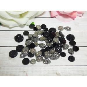 Стразы акрил Черное серебро 10-16 мм, 100 шт.