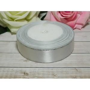 Атласная лента с серебряной нитью 25 мм, 23 м белый
