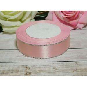Атласная лента с серебряной нитью 25 мм, 23 м розовый