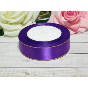 Атласная лента с золотой нитью 25 мм, 23 м фиолетовый