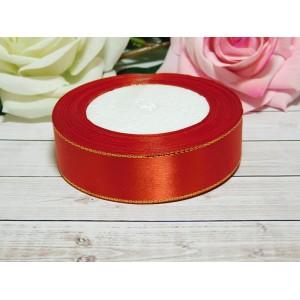 Атласная лента с золотой нитью 25 мм, 23 м красный