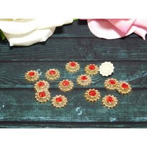 Декор Цветок с красным камнем 13 мм, 50 шт.