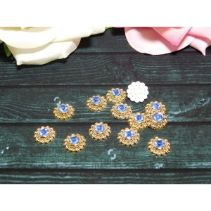 Декор Цветок с голубым камнем 13 мм, 50 шт.