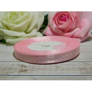 Атласная лента в горошек 10 мм, 23 м розовый нежный