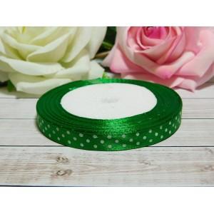 Атласная лента в горошек 10 мм, 23 м зеленый сочный