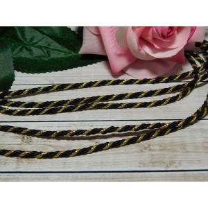 Шнур декоративный витой 3 мм, 10 м черный + золото