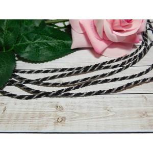 Шнур декоративный витой 3 мм, 10 м черный + серебро