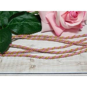 Шнур декоративный витой 3 мм, 10 м розовый + золото