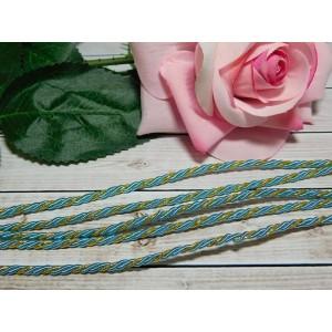 Шнур декоративный витой 3 мм, 10 м голубой + золото