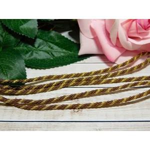 Шнур декоративный витой 3 мм, 10 м коричневый + золото