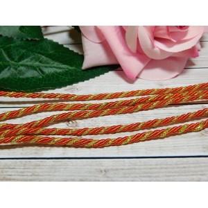Шнур декоративный витой 3 мм, 10 м красный + золото