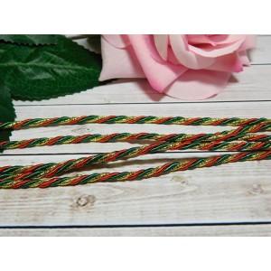 Шнур декоративный витой 3 мм, 10 м красно-зеленый + золото