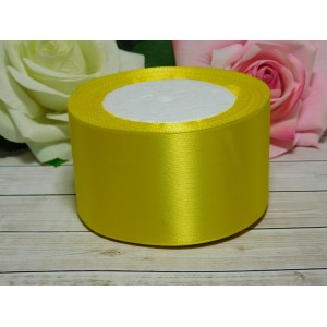 Атласная лента 50 мм, 23 м желтый