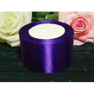 Атласная лента 50 мм, 23 м фиолетовый темный