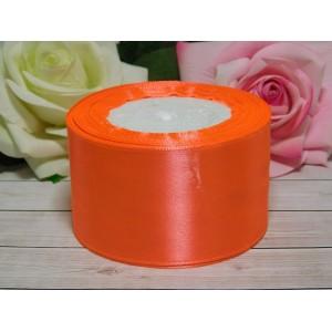 Атласная лента 50 мм, 23 м оранжевый неон