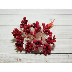 Веточки-тычинки с блестками, 144 шт. (12 букетов) красный