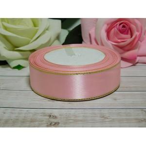 Атласная лента с золотой нитью 25 мм, 23 м розовый