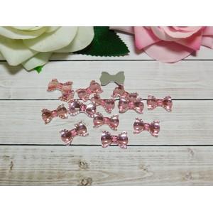 Стразы Бант акрил 13*19 мм, 100 шт., розовый