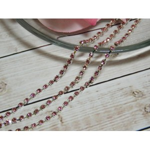 Цепочка со стразами SS10, 10 ярдов серебро розовый