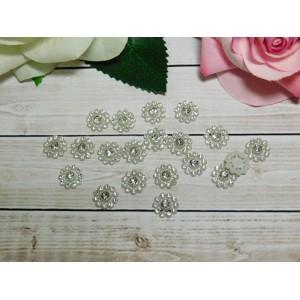 Декор Цветок со стразами 12 мм, 50 шт. белый