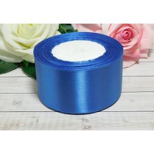 Атласная лента 50 мм, 23 м голубой темный