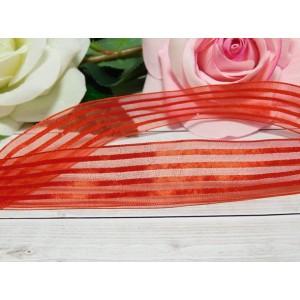 Органза с рисунком 25 мм, 23 м красный полоски