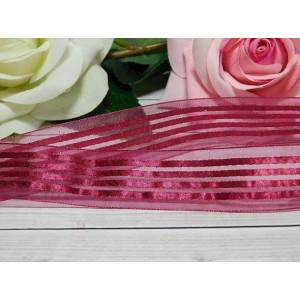 Органза с рисунком 25 мм, 23 м вишневый полоски
