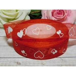 Органза 25 мм с рисунком Сердце, 46 м красный