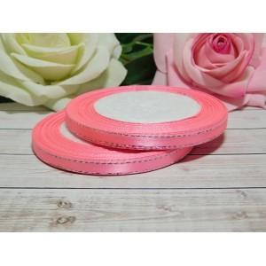 Атласная лента с серебряной нитью 6 мм, 23 м розовый яркий