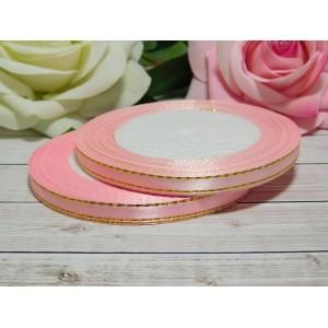 Атласная лента с золотой нитью 6 мм, 23 м розовый