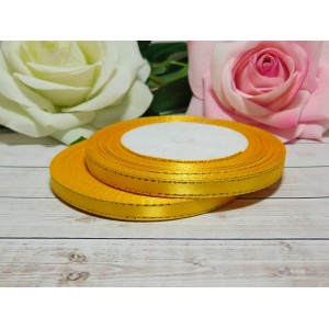 Атласная лента с золотой нитью 6 мм, 23 м желтый яркий