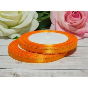 Атласная лента с золотой нитью 6 мм, 23 м оранжевый