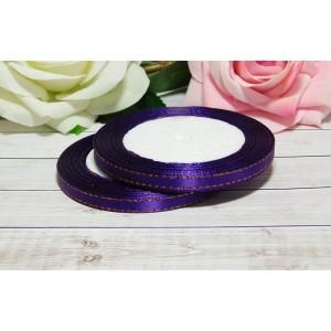 Атласная лента с золотой нитью 6 мм, 23 м фиолетовый темный