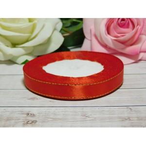 Атласная лента с золотой нитью 12 мм, 23 м красный