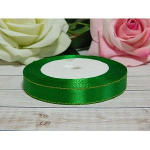 Атласная лента с золотой нитью 12 мм, 23 м зеленый сочный