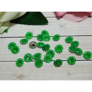 Стразы Цветок акрил 12 мм, 100 шт. зеленый