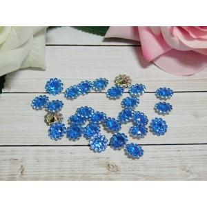 Стразы Цветок акрил 12 мм, 100 шт. голубой