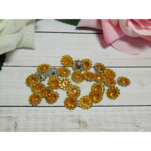 Стразы Цветок акрил 12 мм, 100 шт. желтый