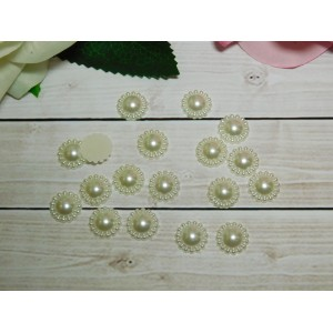 Фигурки из пластика Цветок 12 мм, 100 шт. ванильный