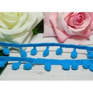 Лента с помпонами 25 мм, 18 ярдов голубой яркий