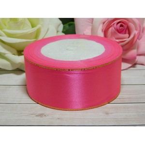 Атласная лента с золотой нитью 38 мм, 23 м розовый насыщенный
