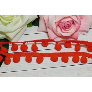 Лента с помпонами 25 мм, 18 ярдов красный