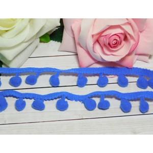 Лента с помпонами 25 мм, 18 ярдов синий