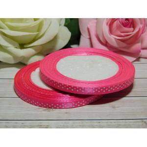 Атласная лента в горошек 6 мм, 23 м розовый яркий