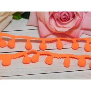 Лента с помпонами 25 мм, 18 ярдов оранжевый яркий